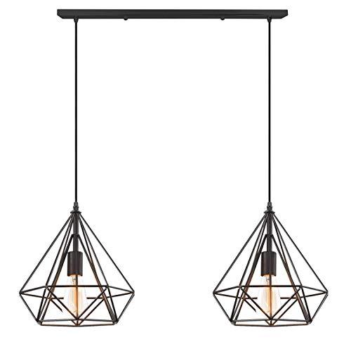 BUNUMO - Lámpara Colgante Industrial Retro con 2 Luces, Cortinas de luz de Techo de Metal con Forma de Diamante Vintage, lámpara Colgante E27 para Dormitorio, Sala de EST