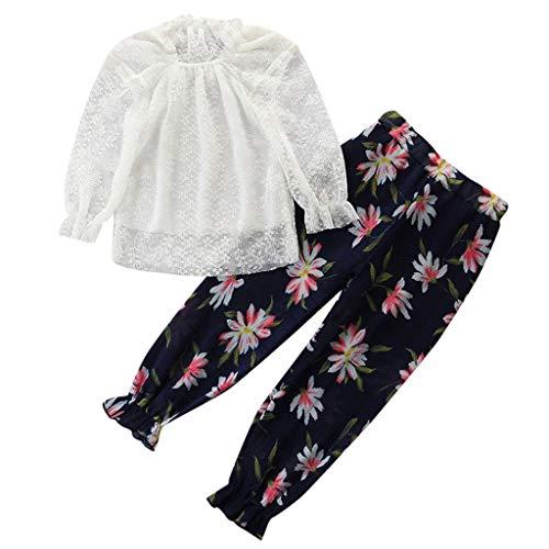 Kleinkind Baby Art und Weisespitze Feste Oberseiten T Stück + Blumendruck kleidet Ausstattungen