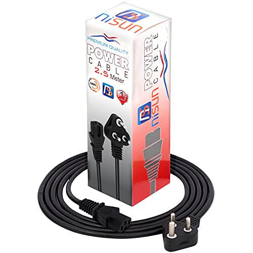 NISUN 2.5 Meter 250 Volts 3 Pin Desktop Power Cable IEC Mains Cord for Pc/Monitor/SMPS/Printer with Box – Black