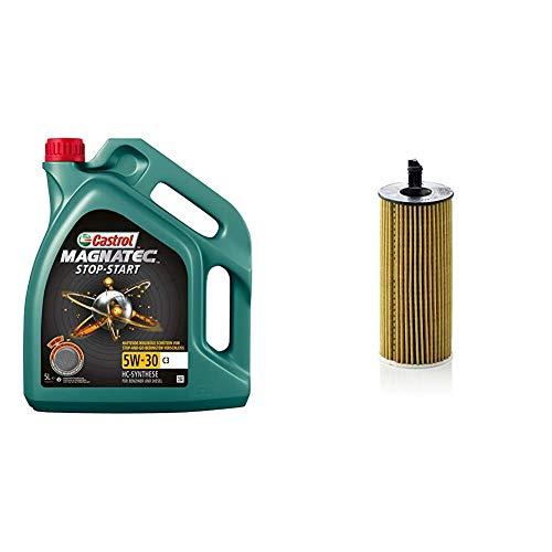 Castrol MAGNATEC Stop-Start 5W-30 C3 5L + Mann Filter Ölfilter HU 6004 X - Ölfilter Satz mit Dichtung/Dichtungssatz - Für PKW