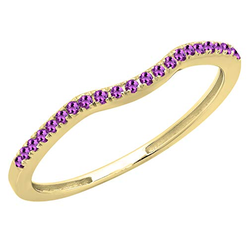 Dazzlingrock Collection 0.15 Carat (ctw) 10K Round Amethyst Anniversary Ring Wedding Guard Band, Yellow Gold, Size 6.5