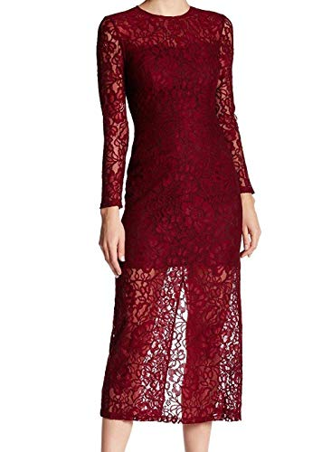 Cynthia Rowley Women's Delicate Lace Fitted Dress, Burgundy, 12