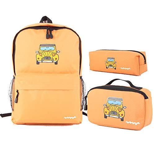 Cállate la boca Set 3pcs naranja (mochila + bolsa almuerzo + estuche)