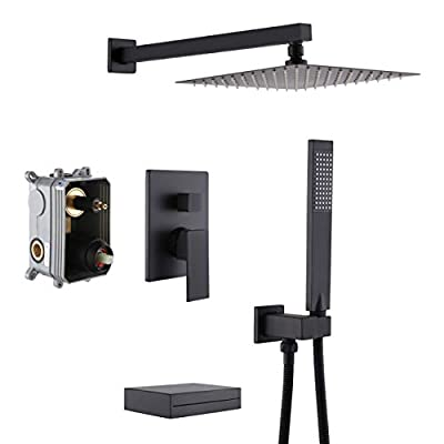 KES Shower System with Waterfall Tub Spout Pressure Balance 3-Function Shower Faucet Set Square with 10 Inch Rain Shower Head Black, XB6305-BK