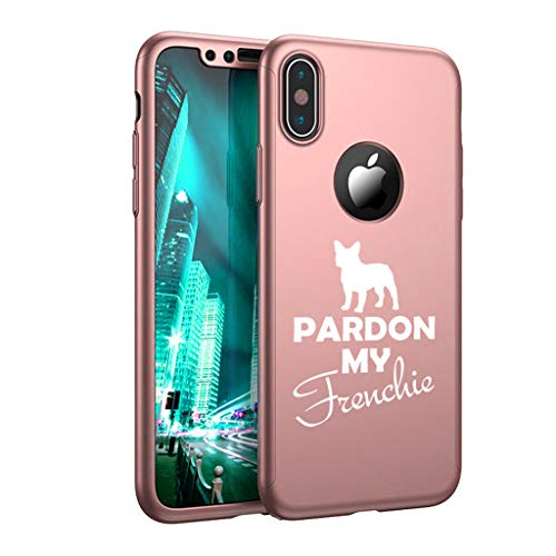 360° Full Body Thin Slim Hard Case Cover + Tempered Glass Screen Protector for Apple iPhone Pardon My Frenchie French Bulldog (Rose-Gold, for Apple iPhone Xs Max)