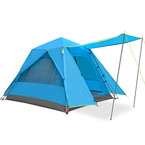 KAZOO Family Camping Tent Large Waterproof Pop Up Tents 3/4 Person Room Cabin Tent Instant Setup with Sun Shade Automatic Aluminum Pole