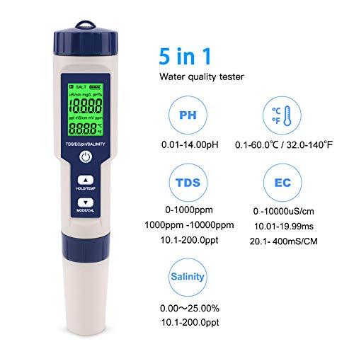 OPSLEA 5 in 1 TDS/EC/PH/Salzgehalt/Temperaturmesser Digitaler Wasserqualität Monitor Tester für Pools, Trinkwasser, Aquarien (Hintergrundbeleuchtung)