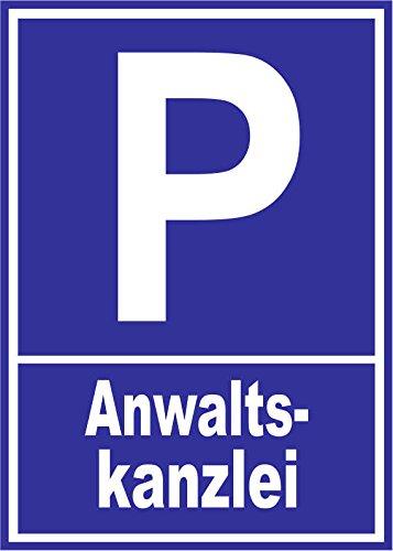 INDIGOS UG - Parkplatzschild - Anwaltskanzlei - Alu-Dibond 21x15 cm - Warnung - Sicherheit - Hotel, Firma, Haus