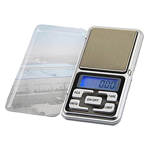 TEPET Báscula de Cocina para Alimentos, Bolsillo eléctrico con retroiluminación de Alta precisión para joyería, Peso en gramo para Cocina, Mini báscula Digital 100/200/300 / 500G 0.01/0.1G 100G