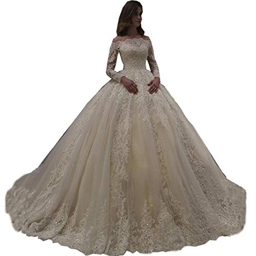 Pandorawedding Women's Off Shoulder Lace Wedding Gowns Bridal Dress Long Trailing Dresses for Bridal Ivory,8