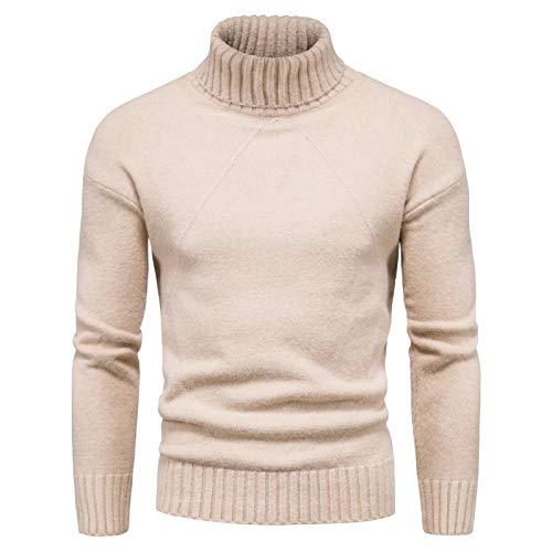 Luandge Jersey de Cuello Alto para Hombre Color Puro Moda Simple Cómodo suéter de Base Ajustado de Todo fósforo Primavera y otoño M
