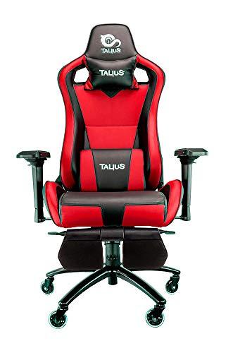Talius Caiman Silla Gaming Profesional con reposapiés Extraible, Inclinación y Altura Regulable, reposabrazos 4D Ajustables (Rojo)