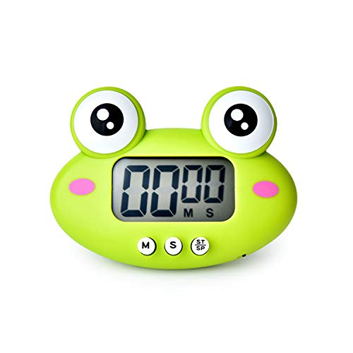 LVGADR Kitchen Timer, Cute Cartoon Animal Countdown Timer, Digital Cooking Timer with Magnetic, LCD Large-Screen Visual Clock, Hangable Alarm Clock with Stand,for Cooking Bake Sport Game(Frog)
