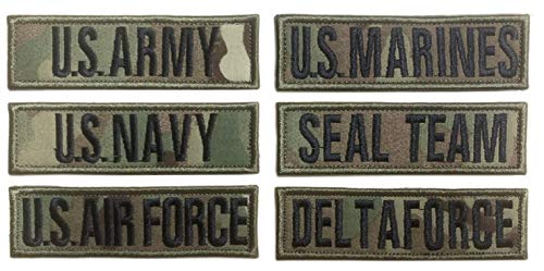 Antrix US Army US Navy US Air Force US Marines US Seal Team Delta Force Patch Looped Tactical Military Morale Uniform Emblems Name Patch for Jackets Jeans Jersey Pants - Multicam 4x1.5'
