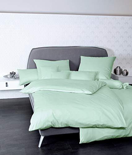 Janine Funda de almohada de satén Mako Uni Colors, diámetro de 15 x 40 cm, color verde jade