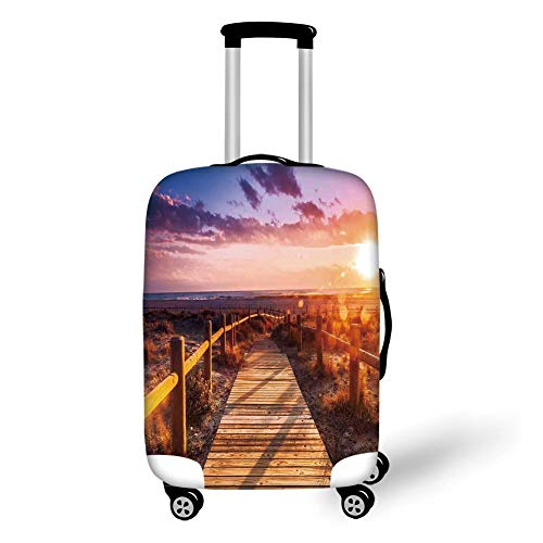 Travel Luggage Cover Suitcase Protector,Landscape Decor,Sunset with Clouds in Cabo de Gata Nijar Natural Park Bridge Way with Fences,Multi,for Travel,L