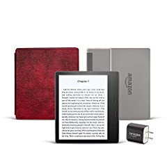 """Includes the latest Kindle Oasis with Special Offers, 32 GB, Wi-Fi, Graphite, Amazon Leather Cover (Merlot), and Power Adapter. Our best 7"""", 300ppi flush-front Paperwhite display. Adjustable warm light to shift screen shade from white to amber. Water..."""