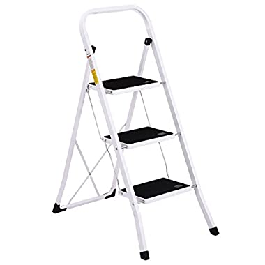 Ollieroo Step Stool EN131 Steel Folding 3 Step Ladder with Grip Handle Anti-slip Step Mon-marring Feet 330-Pound Capacity White