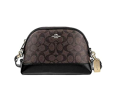 """Made of PVC & Leather with gold tone hardware Top Zip Closure, inside slip pocket Detachable & Adjustable strap drops 22""""-24"""" for crossbody wear Approx dimensions : L: 9.5"""" x H: 7"""" x W: 3"""""""