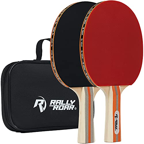Rally and Roar Table Tennis Paddles, Premium Set of 2, (Black/Red), Wooden Table Tennis Paddles, 5-Ply Blade, Inverted Rubbers for 2 Player Games - Indoor Play Equipment