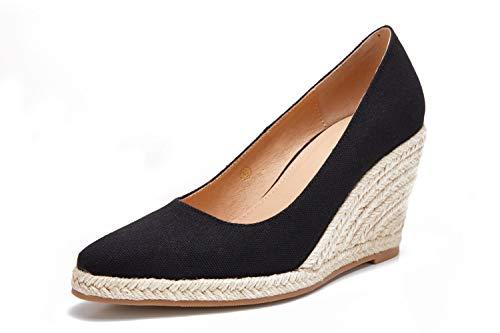 Womens Platform Espadrilles Wedge Sandals Slip On Closed Toe Wedge Pumps Shoes