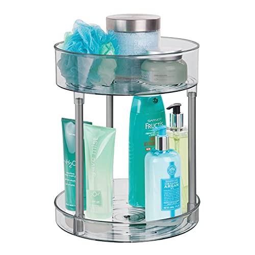 mDesign Organizador de cosméticos – Estante de baño con Dos Niveles y Plato Giratorio – Estantería de Ducha de pie Guardar cosméticos o Accesorios de baño – Gris
