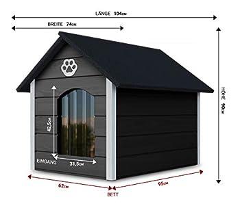 Novamat Niche pour chien en bois – Maison confortable et élégante pour votre chien avec parois isolées – Imperméable – Taille XL (XL, marron, blanc) (gris/jaune)