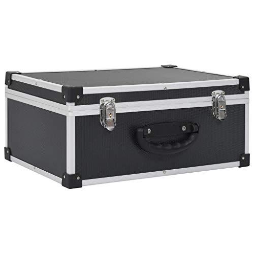 vidaXL Cd-Koffer Aluminium ABS Zwart Houder Opbergdoos Kist Ordener Koffers