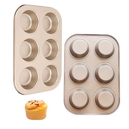 2Pcs Moldes para Magdalenas Molde Magdalenas Horno Acero 6 Agujeros Muffins Moldes Cupcakes No pegajoso 26*21.8*3.5CM para Brownie Budín Muffins Chocolate (Dorado)