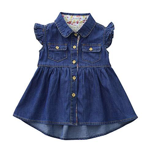 Vestido de Princesa Niña Volantes Mezclilla con Bolsillo Sin Mangas Ropa Bebés Niñas Vestidos Bebé Niña Recién Nacido
