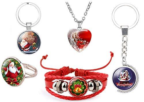DEESOSPRO 5 piezas Navidad Pulsera, Collar, llavero y Anillo, Regalo de Fiesta para Celebración Navideña