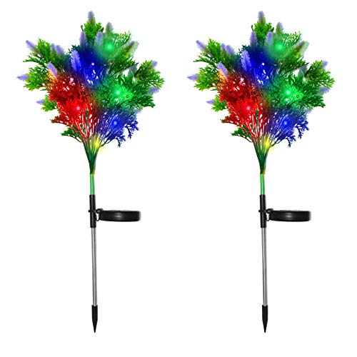 Solar Garden Lights Tree Outdoor 2PCS, Solar Christmas Lights Outdoor Waterproof, LED Solar Powered Christmas Lights for Garden Patio Pathway Yard Decor Outdoor Christmas Decorations Lights