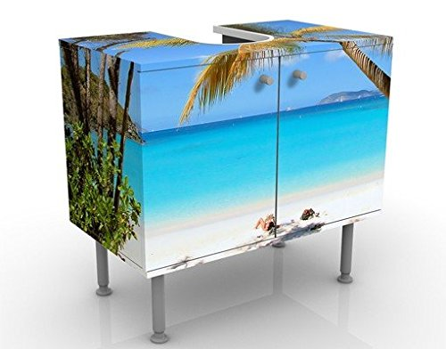 Bilderwelten Waschbeckenunterschrank - Les Seychelles - Badschrank Blau, Größe: 55cm x 60cm