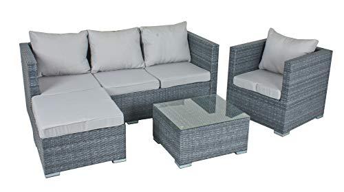 Garden Pleasure Gartenmöbel Set Lounge-Eckgruppe BAEZA, 4-teilig, Stahl, Kunststoffgeflecht, Grau
