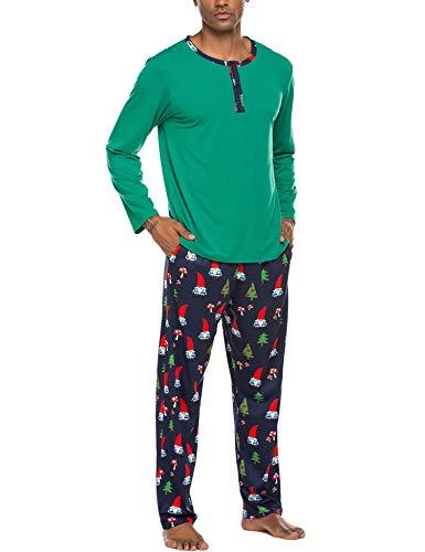Ekouaer Men's Pajama Christmas Sleepwear Cotton Long Sleeve Lounge Holiday Printed 2 Piece pj Set (Style 1: Green 2, XXL)