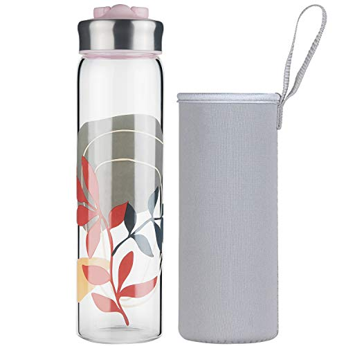 Life4u Borosilikat Trinkflasche Glas Wasserflasche Glasflasche mit Neoprenhülle BPA Free 700 ml