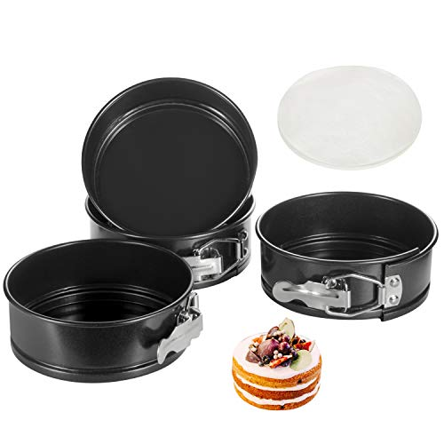 Springform Pan, 4.6 Inch Nonstick Cake Pan, Set of 4, with 50 PCS Paper Liners. Leak-proof Baking Pan for Mini Cheesecakes, Pizzas, Quiches.