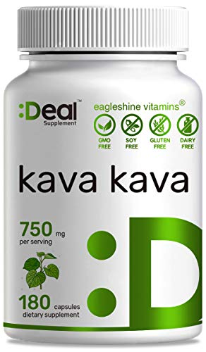 Kava Kava Supplement 750mg, 180 Capsules, 3 Months Supply, Kava Kava Root Extract, Promotes Stress & Anxiety Relief, Mental Calmness and Restful Sleep