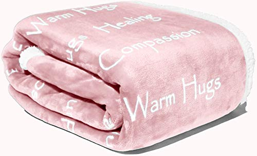 Compassion Blanket - Strength Courage Super Soft Warm Hugs, Get Well Gift Blanket Plush Healing Thoughts Positive Energy Love & Hope with Comfort & Caring for Breast Cancer Survivor (Dusty Pink)