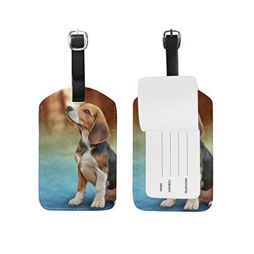 MyDaily Gepäckanhänger mit niedlichem Hundemotiv aus PU-Leder für Reisen, Koffer, ID, Gepäcketikett