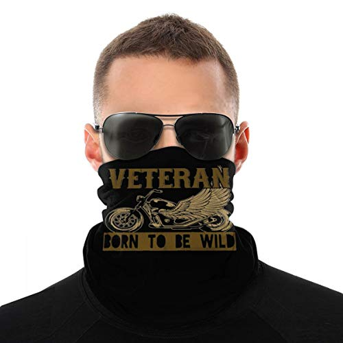 Veteran Born to Be Wild Motorcycle Rider Unisex Neck Gaiter Face Mask Warmer Mouth Cover Windproof Sports Bandanas White
