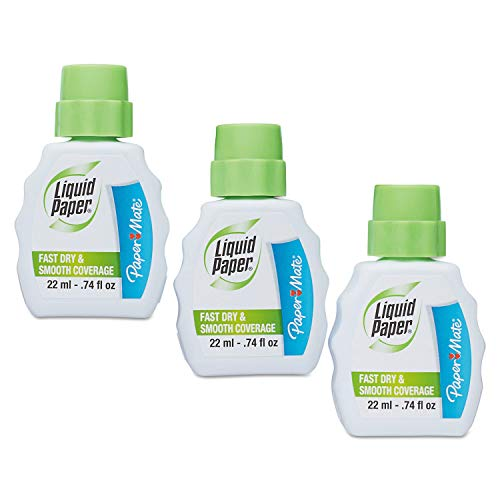 Paper Mate Liquid Paper Correction Fluid, Fast Dry & Smooth Coverage, White, Pack of 3