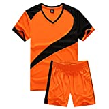 yingfeg bb Soccer Uniforms for Men Sports Jersey and Shorts Set Short Sleeve Shirts Orange Size L