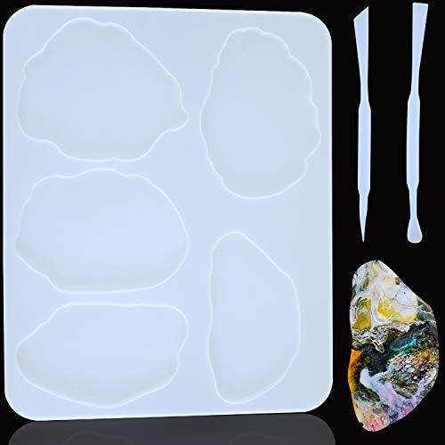 Boao Große Harzform Silikon Harzform mit 5 Unregelmäßigen Mustern für Herstellung von Untersetzer, Anhänger, Schüssel, Matte, 2 Stück Silikon Rührstäbchen