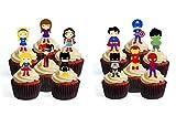 Decoraciones comestibles para magdalenas con diseño de superhéroe con texto 'Boy Girl' (12 unidades)