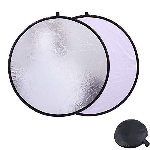 Konseen 撮影用 丸レフ板 直径30cm 銀白 2 in 1 折りたたみ式 リフレクター 反射板 キャリングバッグ付き