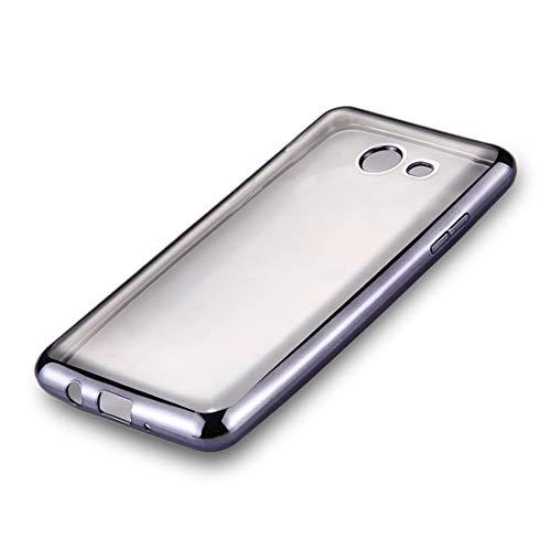 GGAOXINGGAO Nueva Caja de Cubierta de teléfono Celular For Samsung Galaxy J7 (2017) (Versión de EE. UU.) Marco de galvanoplastia TPU Suave Funda de protección Trasera (Color : Grey)