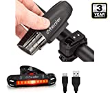 Cycleafer® Bike Lights Set, USB Rechargeable Cycling light, 3 YEAR WARRANTY, POWERFUL Lumens