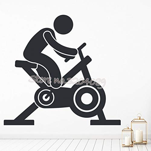 supmsds Bicicleta estática Athletics Fitness Trainer Etiqueta de la Pared Spinning Bike Sport Gym Studio Decoración Interior Vinyl Mural Wallpaper 56X56CM