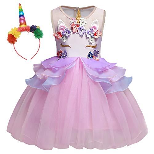 Jurebecia Disfraz de Princesa Hada arcoíris Rosa para niñas con Vestido de tutú y Accesorios Cosplay Party 3-4 Años Rosa